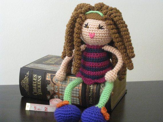 CROCHET PATTERN  Brunette Curly Haired Doll Plush by LeenGreenBean, $6.50