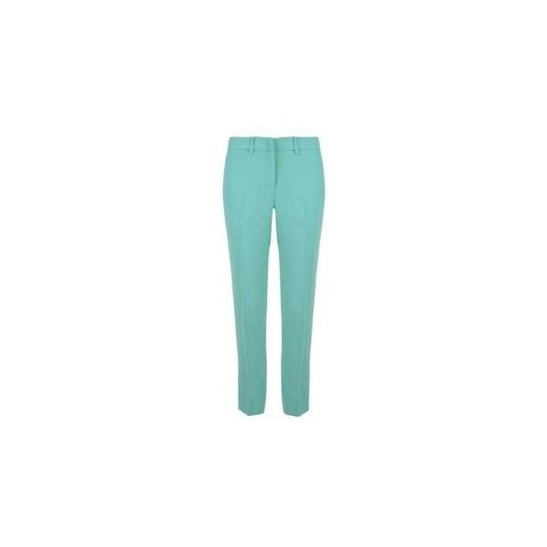 MIU MIU Cady Slim Crop Trousers (3.430 RUB) ❤ liked on Polyvore featuring pants, capris, blue, aqua, blue pants, zipper pants, aqua pants, slim fit pants and slim pants