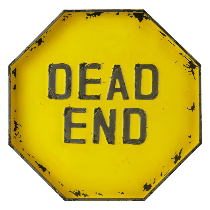 DEAD END metal sign in yellow H 50cm