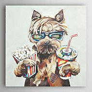 Hand+Painted+Oil+Painting+Animal+Drink+Coke+And+Eat+Popcorn+Dogs+with+Stretched+Frame+7+Wall+Arts®+–+USD+$+86.99