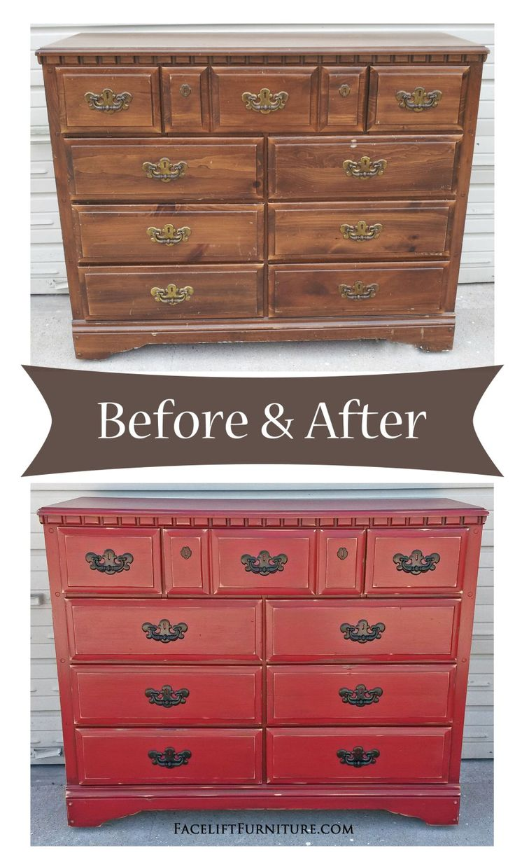 Painting furniture before and after - Barn Red Dresser With Black Vintage Pulls Before After