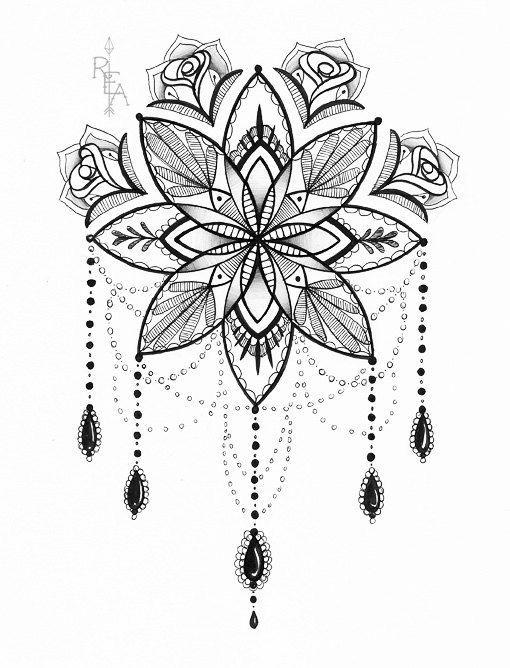 Illustration de Mandala - Tattoo Art - stylo et encre dessin - 5 x 7 giclée Print