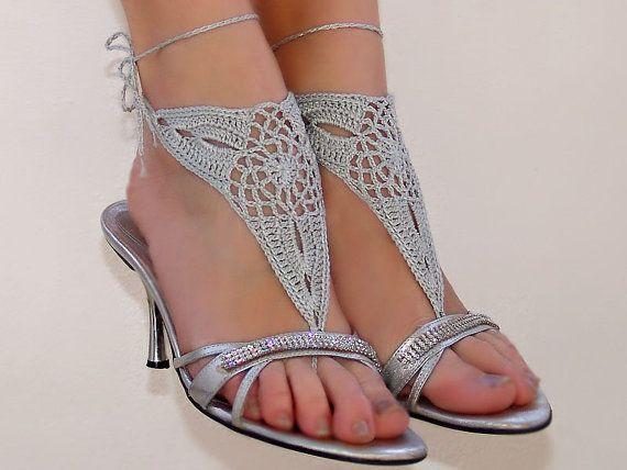 Barefoot sandles, Barefoot sandals, Wedding beach party crochet sandals, foot jewelry, leg decoration, hippie sandals