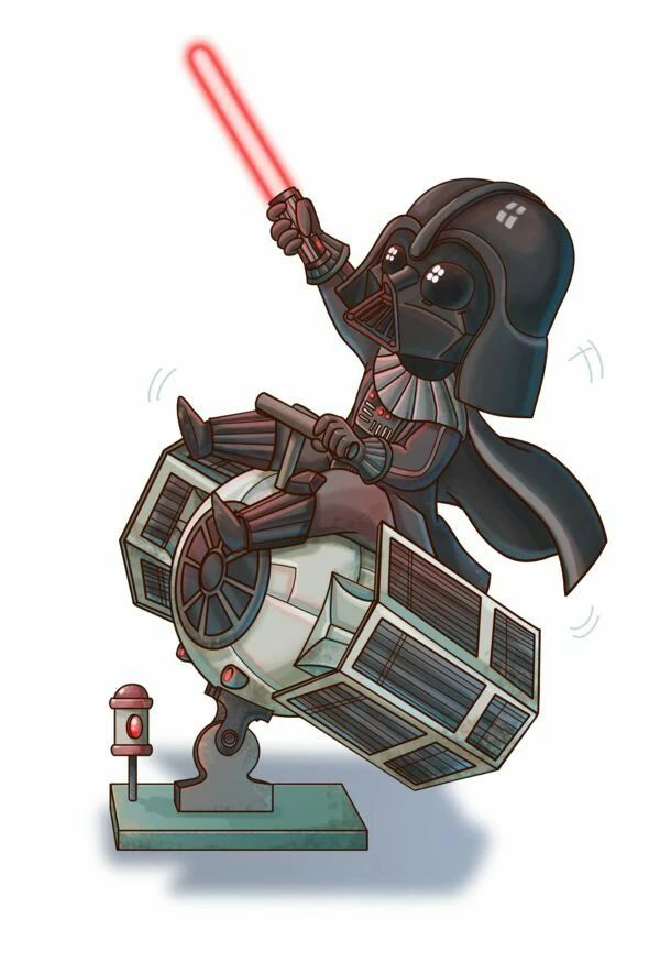 Chibi Vader riding a Tie fighter this is precious