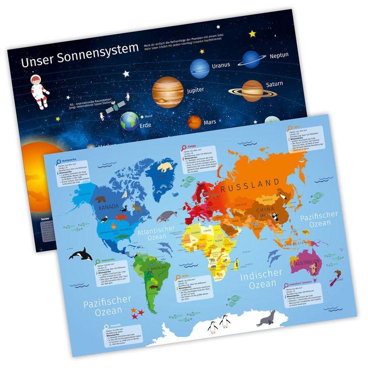 Tischset mit Lerneffekt - 2in1 - Weltkarte & Sonnensystem - Platzset für Kinder
