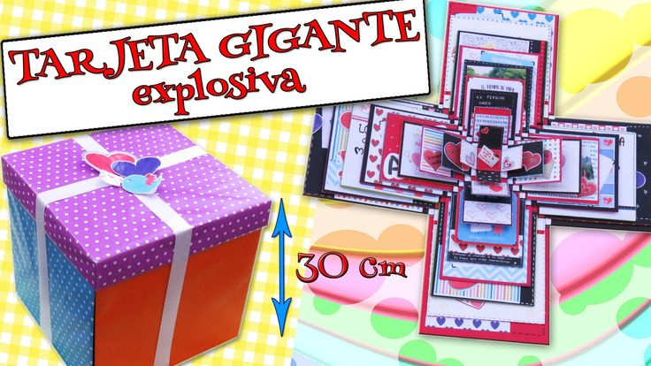 Te mostramos como hacer una #Tarjeta Gigante que al abrirla explotarán muchos regalos con mensajes, fotos y bonitos sentimientos. Ideal para enamorados, dar ...