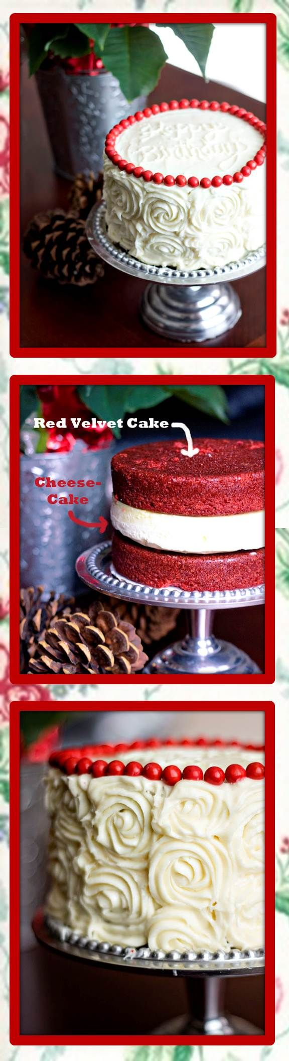 """Red Velvet Cheesecake: This cake has a layer of creamy cheesecake sandwiched between two layers of moist red velvet cake. This recipe concept is borrowed from the Cheesecake Factory's menu, the Ultimate Red Velvet Cake Cheesecake. """"Ultimate"""" is definitely an accurate description for this cake masterpiece."""