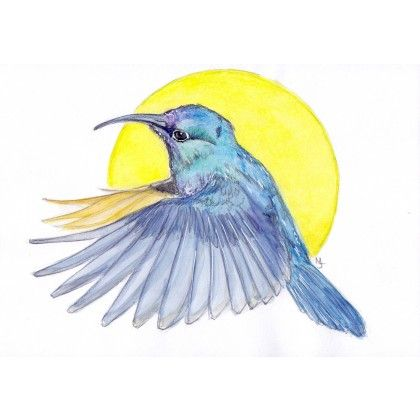 """Hummingbird - blue  If the hummingbird is your spirit animal, its message to you is """"The sweetest nectar is within"""". This blue bird has a color that seeks peace and tranquility above everything else. Made using watercolor and color pencils. Signed in the front."""