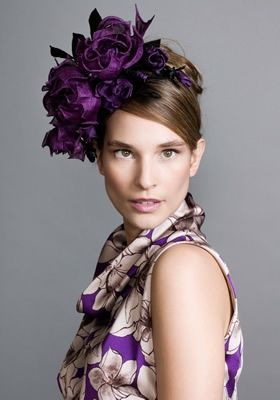 Purple grazia rose headpiece on wire Alice band  Rachel Trevor-Morgan