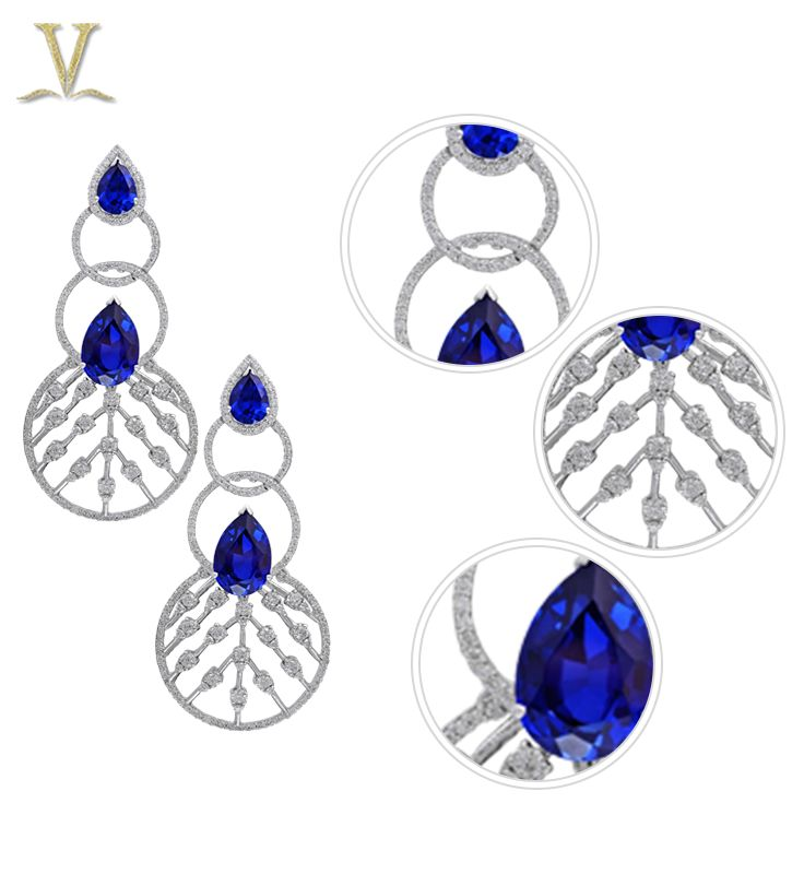 Get intrigued by the unusual combination of diamonds and sapphires!