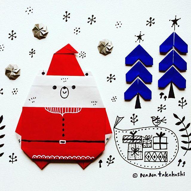 サンタクマロース ちょっと早いわね〜 santakamalaus early-! #origami  #papercraft #illustration  #tree #bear #snow #santaclaus  #おりがみ #ペーパークラフト #イラスト #クリスマス #くま #サンタクロース  #気が早い