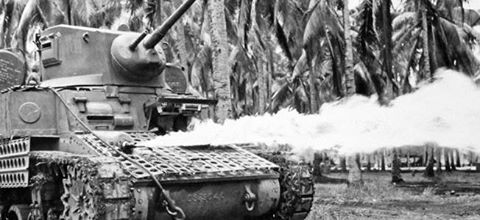 Hellfire on the Hornet's Nest: Flamethrower Tanks at Bougainville This Stuart light tank is shown with an M1A1 flamethrower mounted in the ball turret where a machine gun had originally been placed. In the autumn of 1943, U.S. Army and Marine Corps battalions on New Caledonia began the effort to adapt flamethrowers to their tanks.