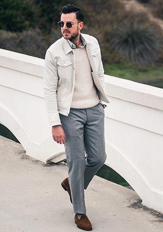 【都会派な貴方に】白Gジャン×スラックスの着こなし【40代】(メンズ) | Italy Web