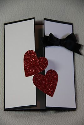 handmade Valentine card from the Stampin Nerd blog ... gate fold .. clean and simple design ... red glitter paper hearts cross the line ... like it!!