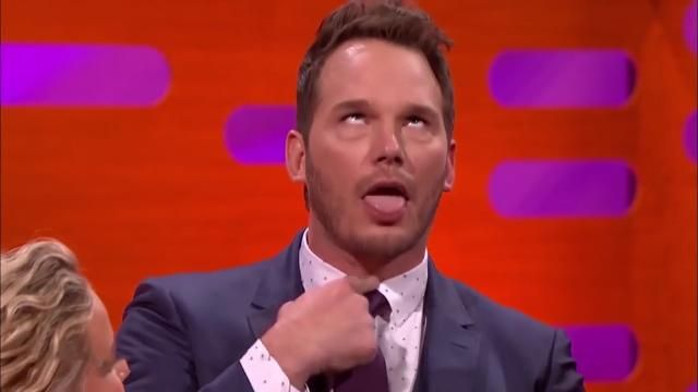 Chris Pratt cracks up Jennifer Lawrence with naughty rags-to-riches food story.
