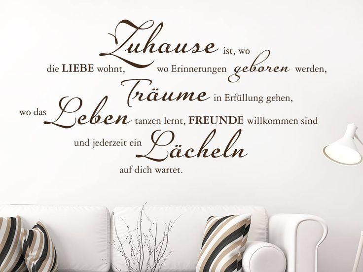 Elegant Wandtattoo Zuhause ist wo die Liebe wohnt Wohnzimmer