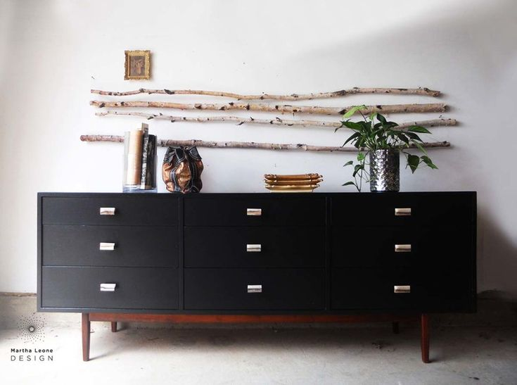 Martha Leone Design: A mid century dresser in Benjamin Moore Black. Resource list of the best paint products for this type of makeover.