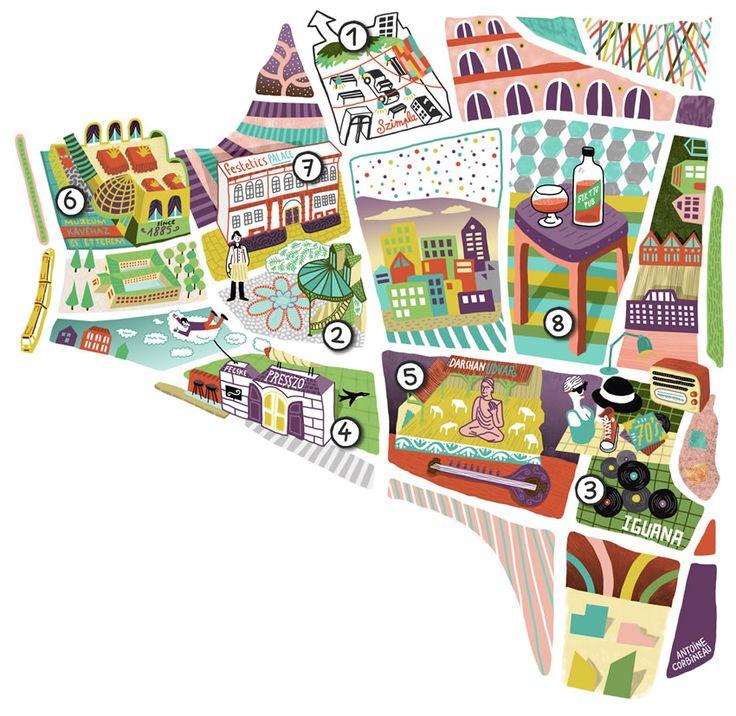 Folio - Illustration Agency | Antoine Corbineau - Typography • Information • Maps illustrator | Budapest Map