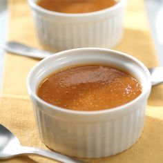 Individual Pumpkin Custards | Meals.com - These crust-free, single-serve pumpkin custards are delightfully easy to make, and the filling can be made and frozen for up to one month for stress-free entertaining. #pumpkin #custard #makeahead