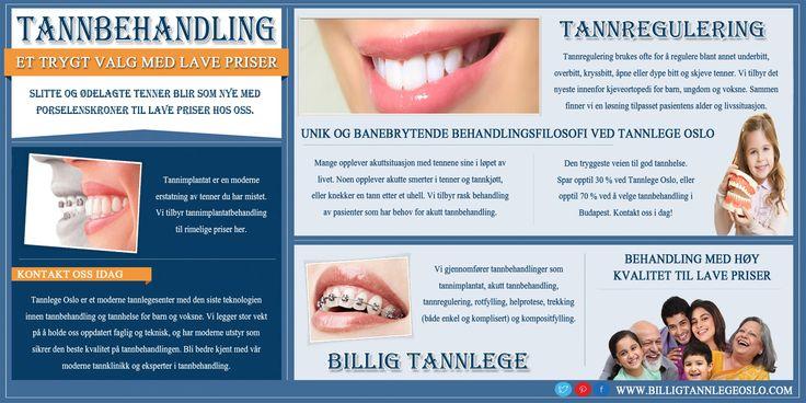 Besøk http://www.billigtannlegeoslo.com/ dette nettstedet for mer informasjon om tannbehandling. Tannlege behandlinger er vanligvis ganske dyrt og kostbart. Det er derfor svært viktig å gjennomføre en grundig forskning før nærmer seg noen bestemt tannlege eller klinikk for å gjøre en klok og godt informert beslutning. Derfor er det viktig at du velger best tannbehandling og benytte fordelene. Følg oss: http://billigtannlege.flavors.me