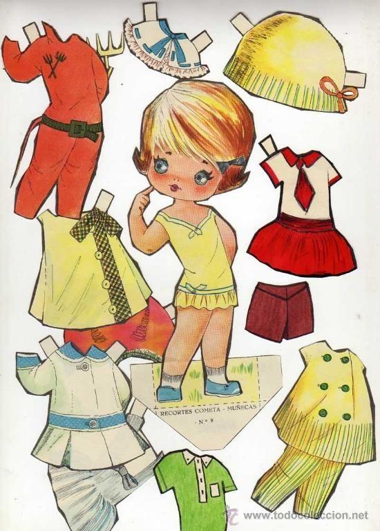 Antiguo recortable de muñecas. Cometa.