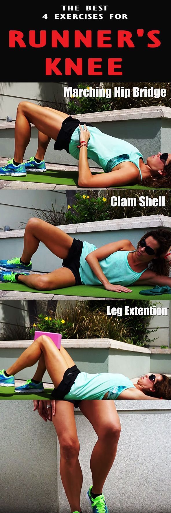 The best 4 exercises for RUNNER'S KNEE. exercises are great for pre-hab and re-hab by strengthening many common weakness of runners.