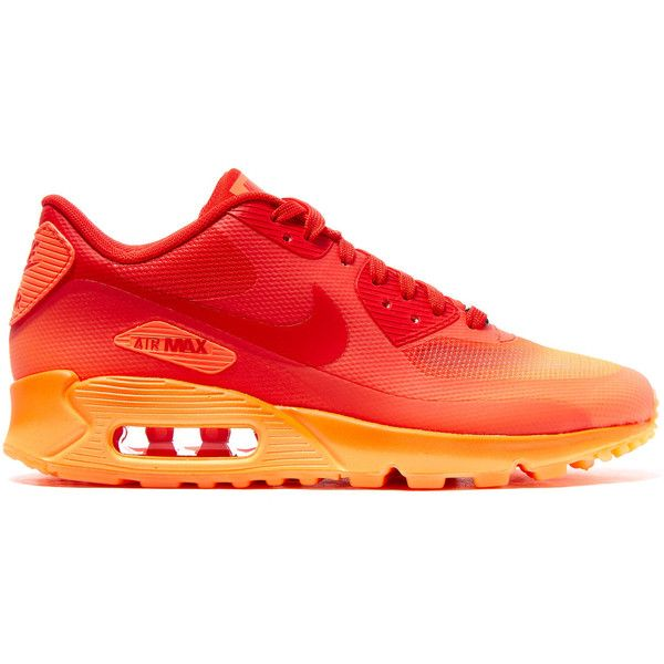 Nike Red Milan Air Max 90 Sweets Trainers ($165) ❤ liked on Polyvore featuring shoes, sneakers, lace shoes, red shoes, cushioned shoes, nike shoes and nike sneakers