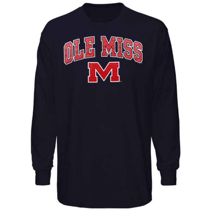 Mississippi Ole Miss New Agenda Midsize Arch Over Mascot Long Sleeve T-Shirt - Navy