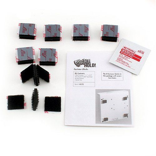 """Quakehold! 4170 Fastener Blocks by Quakehold. $9.41. From the Manufacturer                An excellent way to secure single and stacked electronics and small kitchen appliances. These blocks combine two major components not available in the over-the-counter industrial velcro products: One is a thick cushion pad to offset the feet of your equipment and raise the level up by 3/8"""" to allow your equipment to vent and move with the motion not against it. the second is ridged arrowhe..."""