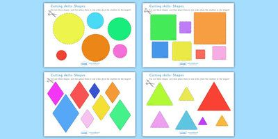 Cutting Skills Worksheets (Size & Shape Ordering)