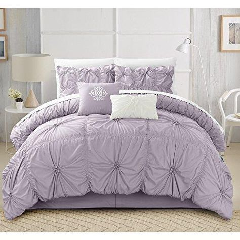 Lavender Gypsy Ruffled Comforter Queen Set Sheet Purple Applique Flowing Ruffles Pattern Layered Overlapping Gypsies Hippie Themed Hippy Layers Adult Bedding Bedroom Polyester