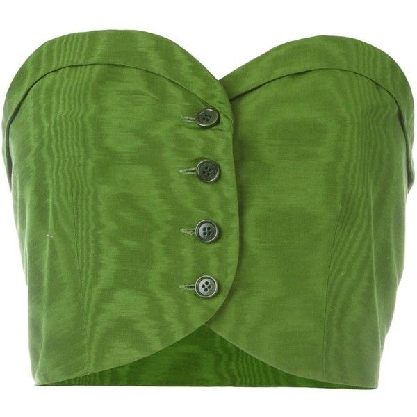 Romeo Gigli Vintage Buttoned Bustier Top ($120) ❤ liked on Polyvore featuring tops, green, strapless tops, sweetheart neckline tops, strapless crop top, vintage crop top and vintage tops