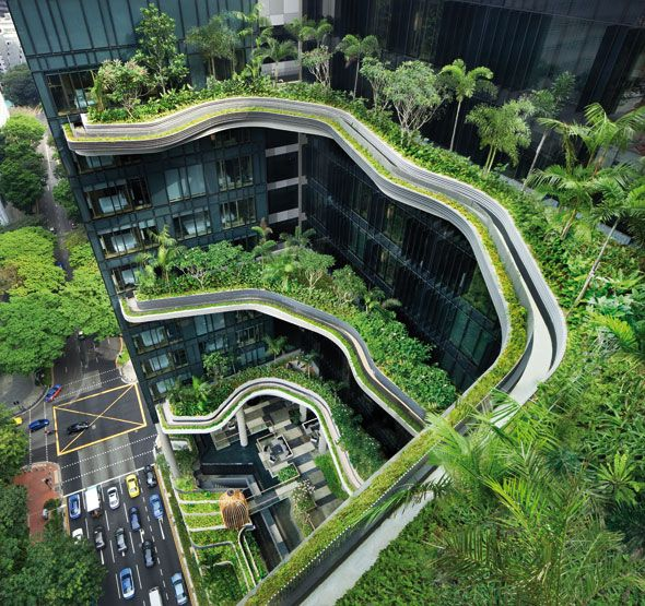 Urban sustainable architecture Green living in Park Royal hotel. This is sustainable and inspiring, the gardens outside the apartments give the residences a healthy environment, which I could implement this into my project.