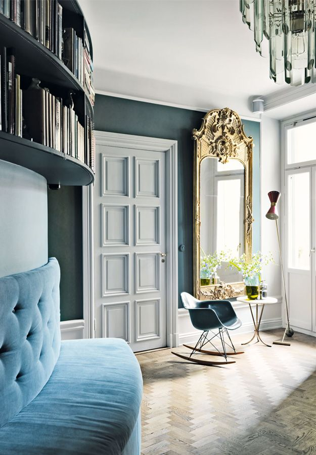 blues, large gilt mirror, mix of styles