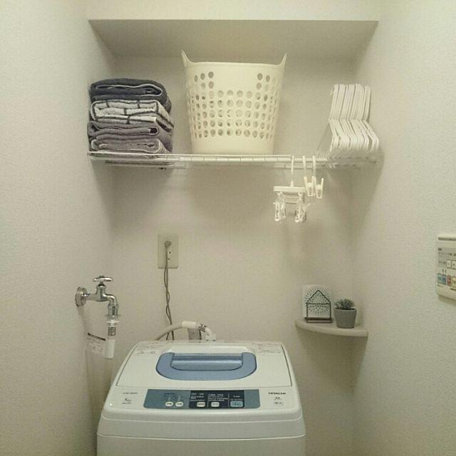 100均×洗濯機のインテリア実例   5ページ目   RoomClip (ルームクリップ) Bathroom/無印良品/収納/100均/一人暮らし/つっぱり棒/シンプル