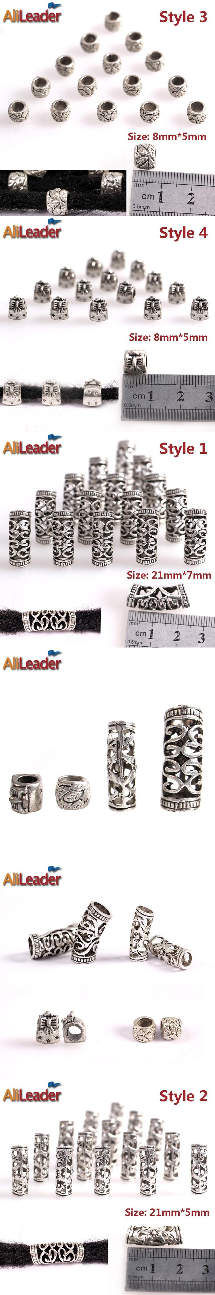 AliLeader Metal Dreadlock Beads Adjustable Braid Cuffs For Braiding Hair Mixed 4 Sizes Tibetan Silver Rings And Beads 20Pcs/Lot