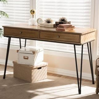 Shop for Rustic Industrial Metal and Wood 2-Drawer Desk by Baxton Studio. Get free shipping at Overstock.com - Your Online Furniture Outlet Store! Get 5% in rewards with Club O! - 24149520