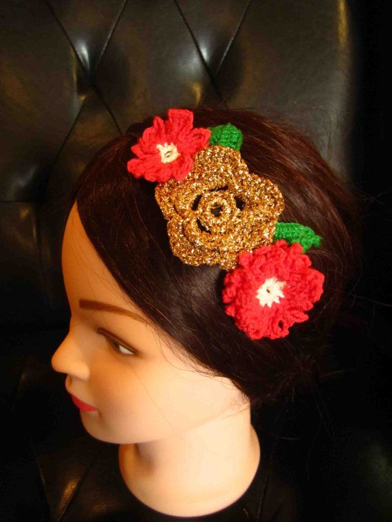 Headband with red and gold crochet flowers by WhiteBea on Etsy, $10.00