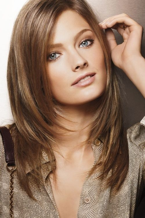 Shiny brown hair with layers - she glows!
