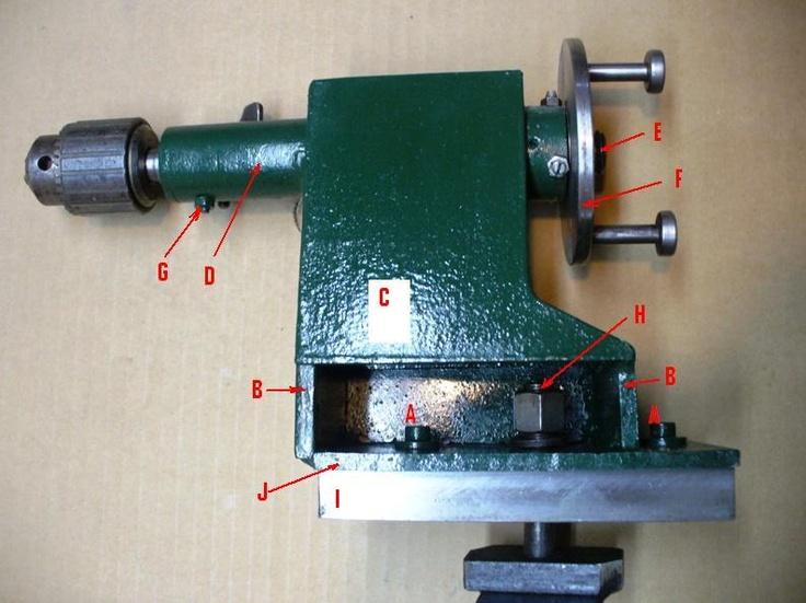 """Torno casero Las letras corresponden a los siguientes detalles: G.- Tornillo que evita el giro de la barra porta mandril. (la barra tiene una ranura longitudinal) H.- Tornillo 1/2"""" x 3 1/2"""" pase fino, para fijar la contrapunta a la bancada. I.- Trozo de perfil PNU igual a los de la bancada, recortado a 19 mm y pulido. J.- Base de chapa de hierro de 5/16"""" con dos colizas para los tornillos """"A""""."""