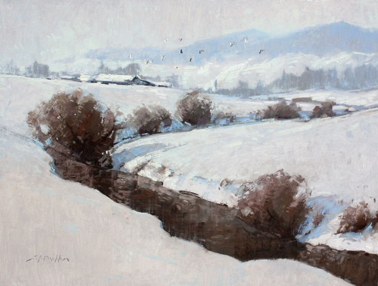 Meandering Through Winter - winter painting of rural farm scene and stream by Jerry Markham