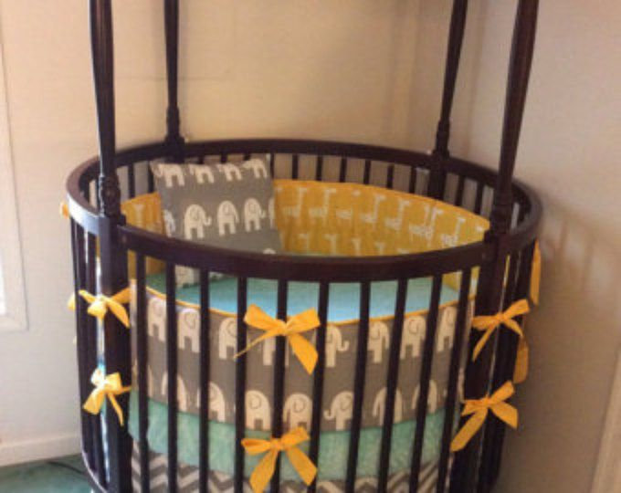 DEPOSIT Yellow and Gray Round Crib Bedding with Elephants and Giraffes Made to Order