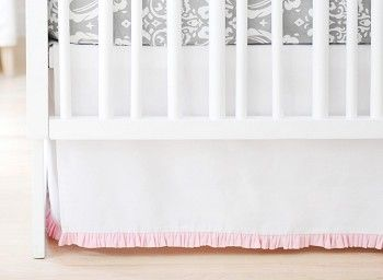 White Pique Crib Skirt with Pink Ruffle