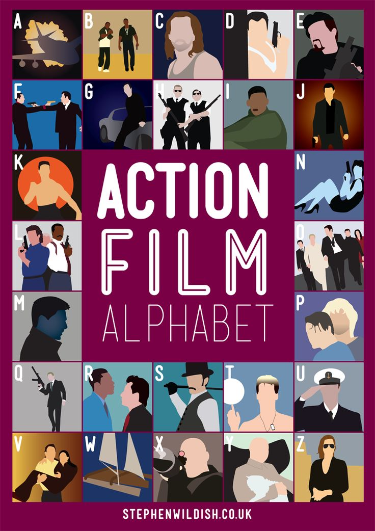 ACTION FILM ALPHABET | a) Air Force One; b) Bad Boys; c) Con Air; d) Die Hard; e) Expendables; f) Face Off; g) Gone in 60 Seconds; h) Hot Fuzz; i) Independence Day; j) Jack Reacher; k) Kickboxer; l) Lethal Weapon 3; m) Mission Impossible; n) Nikita; o) Ocean's 11; p) Point Break; q) Quantum of Solace; r) Rush Hour; s) Sherlock Holmes; t) Top Gun; u) Under Siege; v) Volcano; w) Waterworld; x) xXx; y) You only live twice; z) Zero Dark Thirty | www.stephenwildish.co.uk/