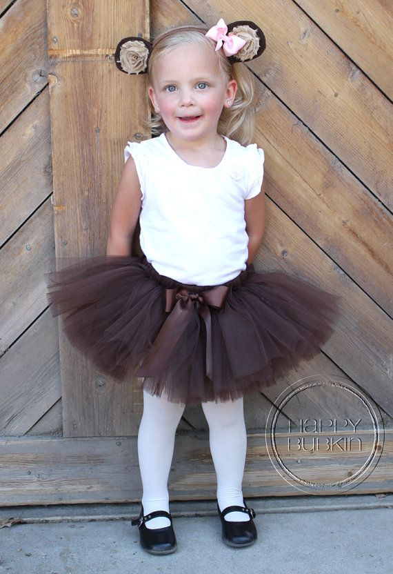 LIL' MONKEY COSTUME--Custom Made Hand-Tied Ribbon Tutu Skirt with Ears Headband, sizes Newborn-5T by HAPPYBUBKIN on Etsy