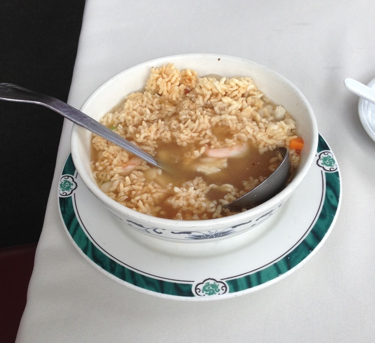 Sizzling rice soup.