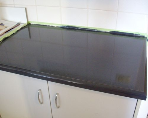 Diy painted laminate benchtop house stuff pinterest for Cheap kitchen benchtop ideas