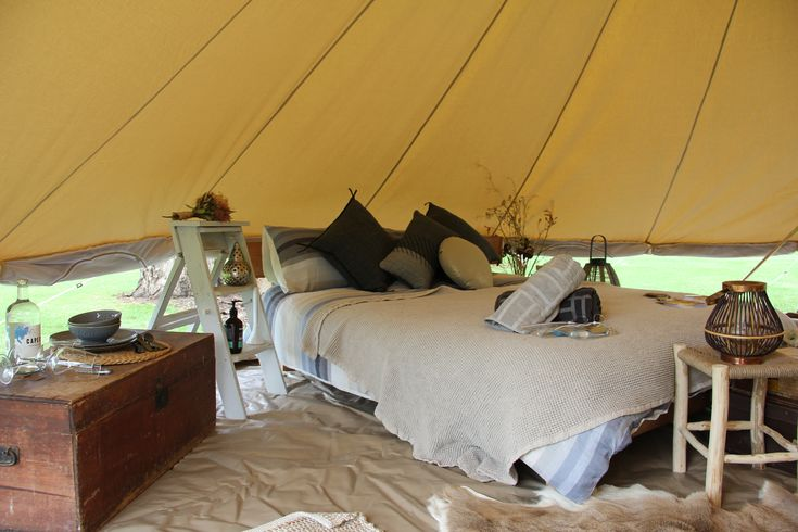 Each Wildflower Bell Tent is surprisingly spacious at 6mtrs in diameter and comes complete with 2 x double door entrances and a 360degree screen providing closeness to the wilderness with all the romance of the ultimate hideaway.  www.wildflowerbelltenthire.com.au