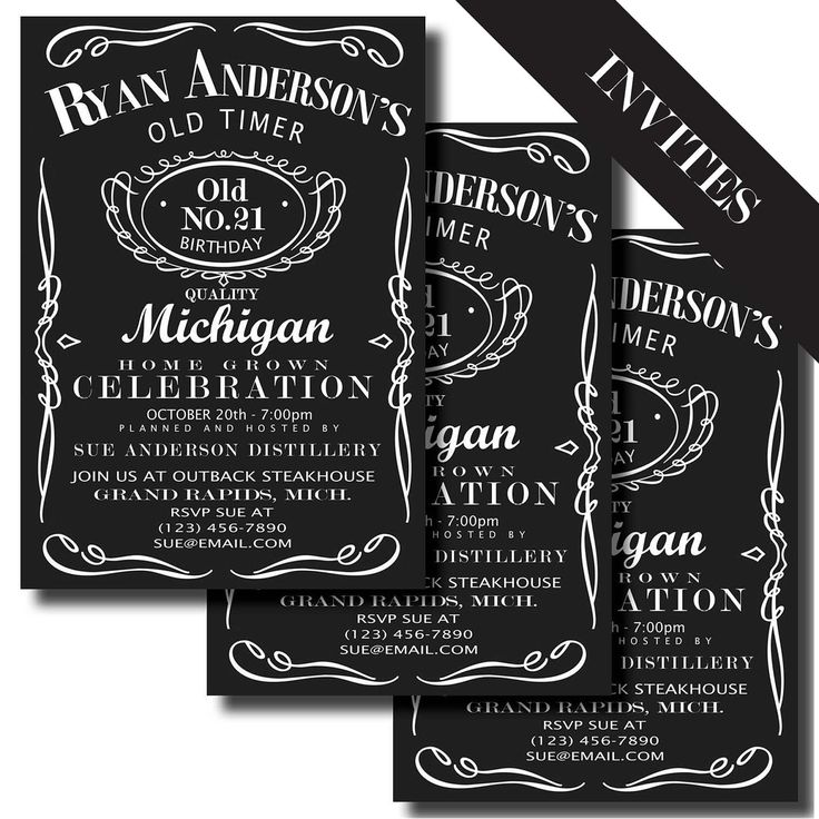 JACK DANIELS Birthday Party - Jack Daniels Label Printable Birthday INVITATION and Party Decorations. $25.00, via Etsy.