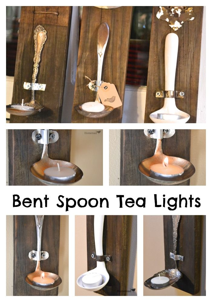 Ladles and bent spoons attached to reclaimed wood create a rustic tea light  www.homeroad.net #repurposed #candles